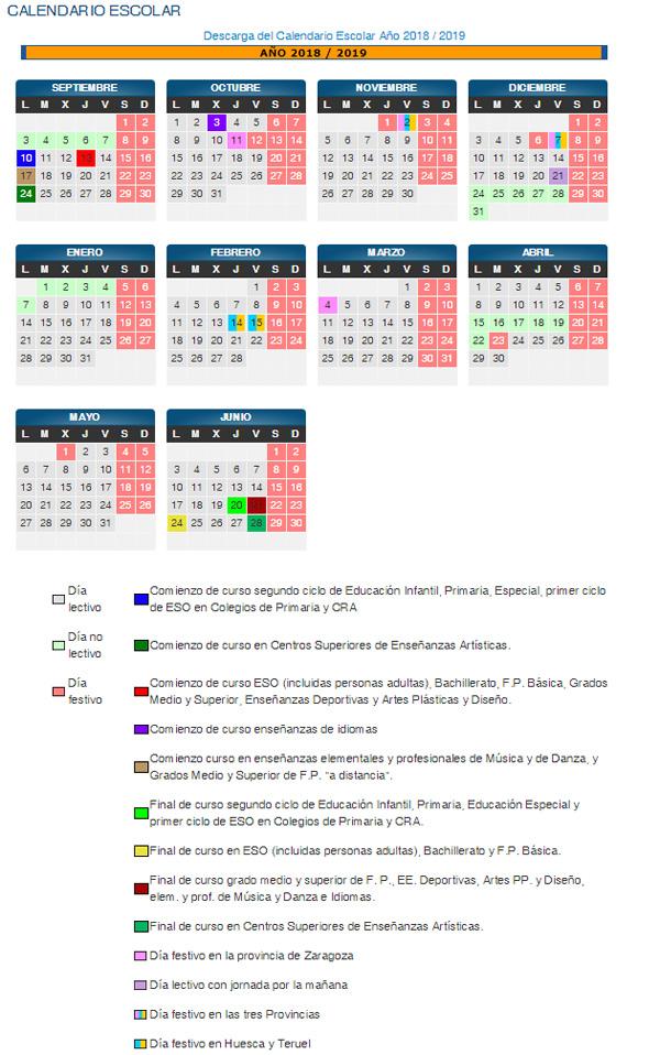 Calendario Escolar 2020 Aragon.Calendario Escolar Colegio Publico Joaquin Costa